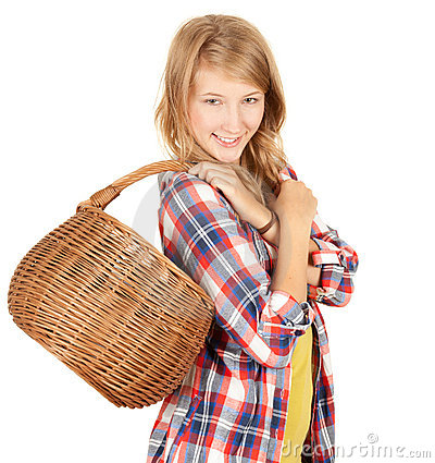 Shopping girl with wicker basket
