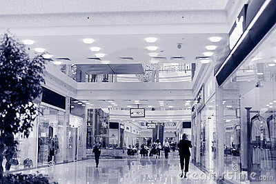 Shopping hall. Tint blue