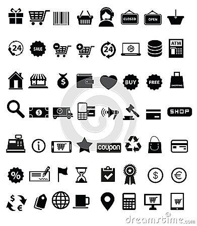 Free Shopping Icon Set Royalty Free Stock Photos - 39636808