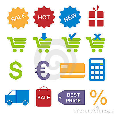 Free Shopping Icons Royalty Free Stock Photos - 13860308
