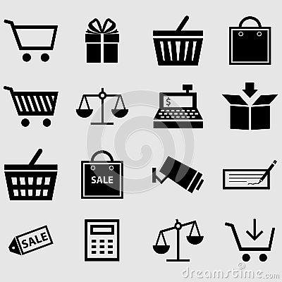 Free Shopping Icons Stock Photography - 35037552