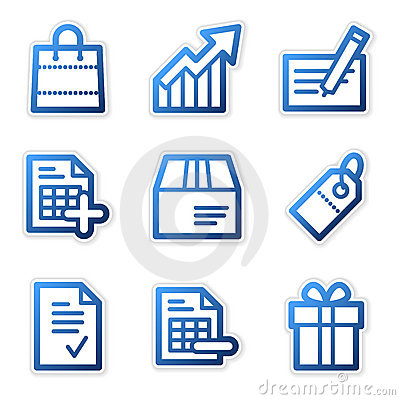 Free Shopping Icons, Blue Series Royalty Free Stock Images - 5220789