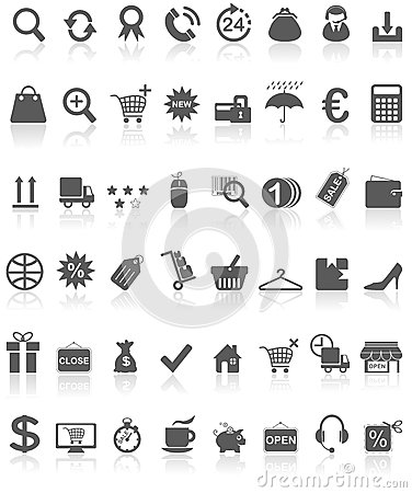 Free Shopping Icons Collection Black On White Royalty Free Stock Photos - 36077238