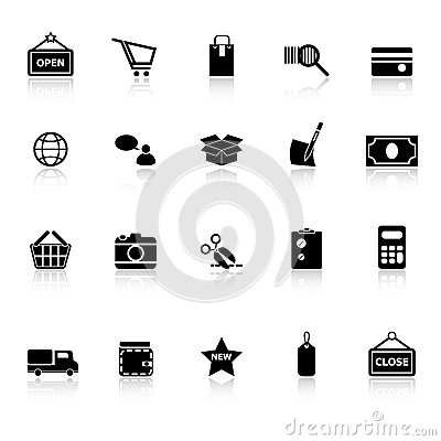 Shopping icons with reflect on white background