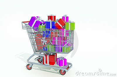 Shopping kart filled with presents