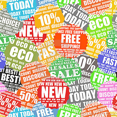 Shopping labels seamless background