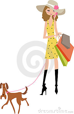 Shopping lady with dog