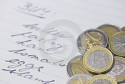 Shopping list with a euro coins