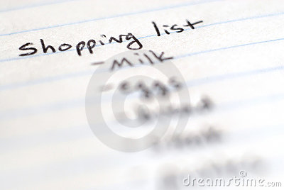 Shopping List of Groceries