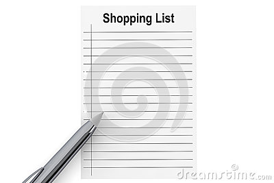 Shopping List with pen