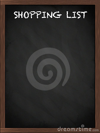 Shopping list sign on blackboard
