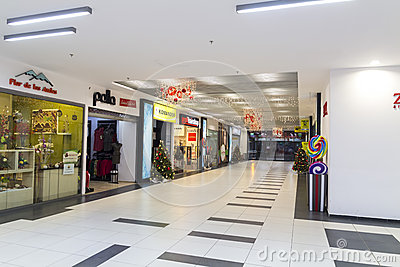 Shopping mall during christmas time Editorial Stock Photo