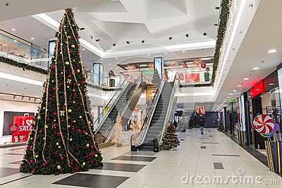 Shopping mall during christmas time Editorial Image