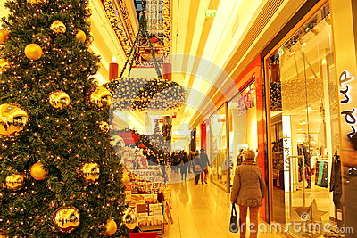Shopping mall in winter holidays season
