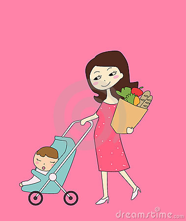 Shopping mother and baby