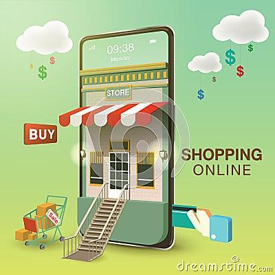 Shopping Online on Mobile Phone Vector Illustration