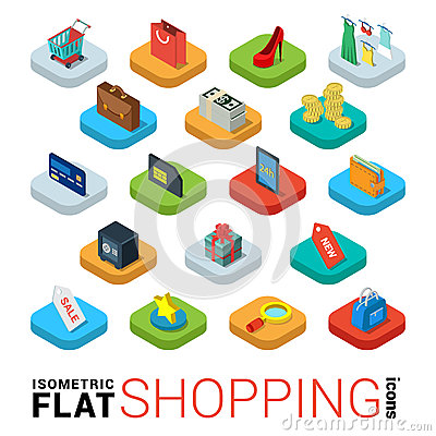 Free Shopping Online Store Flat Vector 3d Isometric Mobile App Icon Royalty Free Stock Images - 66193839