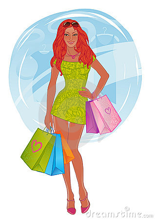 Shopping pretty girl. Vector illustration.