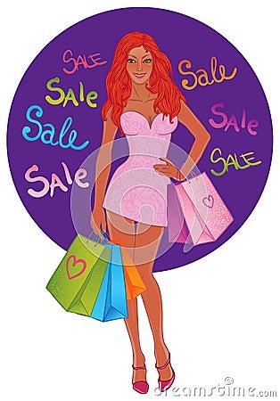 Shopping pretty girl. Vector illustration.