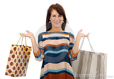 Shopping pretty woman over white background