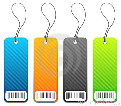 Shopping price tags in 4 colors