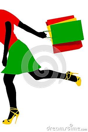 Shopping running girl
