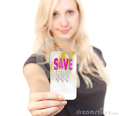 Shopping sale bargain card woman
