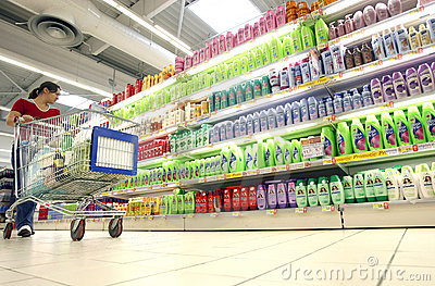 Shopping for shampoo at supermarket Editorial Image