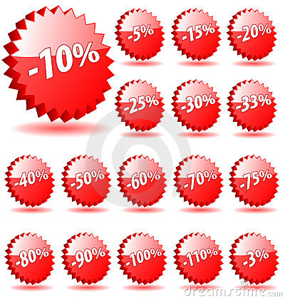 Free Shopping Shop Discount Promotion Vector Badges Badge Special Offer Percent Percents Tag Sticker Icon Label Star Banner Coupon 5 Stock Photos - 9498643