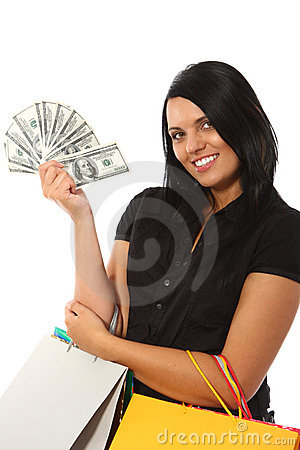 Free Shopping - Smiling Woman With Money Stock Photo - 11613040