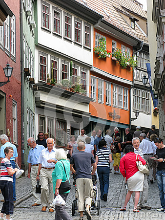 Shopping street in Erfurt, Germany Editorial Stock Photo