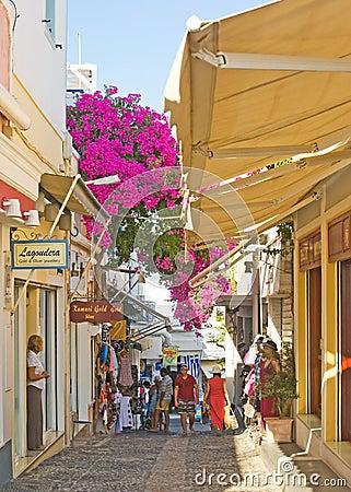 Shopping street in Fira Santorini. Editorial Stock Photo