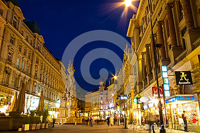 Shopping  street graben in night Editorial Stock Image