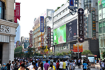 Shopping street, Nanjing road, Shanghai, China Editorial Stock Image