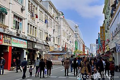Shopping street in Xiamen city, China Editorial Photo