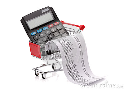 shopping till receipt calculator and cart royalty free stock photography   image 30912827