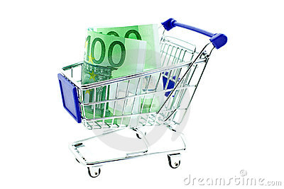 Shopping trolley with 100 euro notes isolated