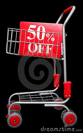 Shopping trolley with 50 percent off sign