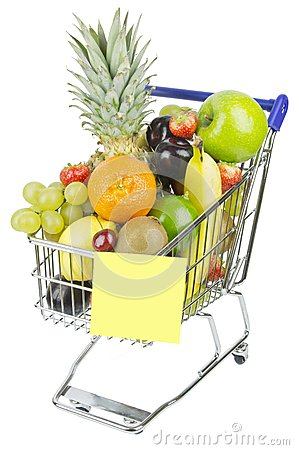 Free Shopping Trolley And Fruit Stock Photos - 28025133