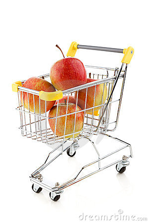Shopping trolley and apples