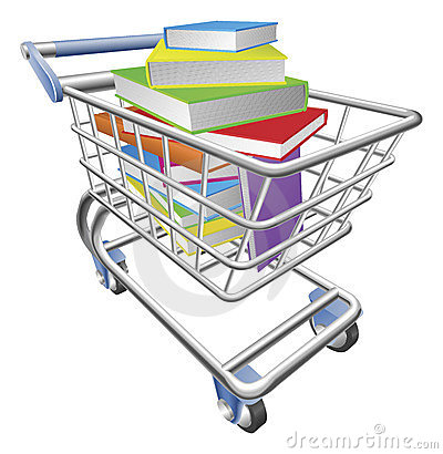 Shopping trolley cart full of books concept
