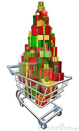 Shopping trolley cart with lots of gifts