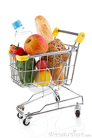 Shopping trolley and foodstuffs