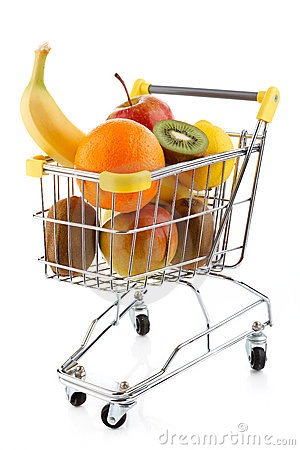 Shopping trolley and fruits