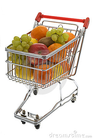 Shopping trolley with fruits, supermarket