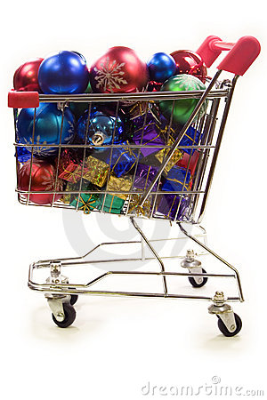 Shopping trolley full of christmas decorations 2