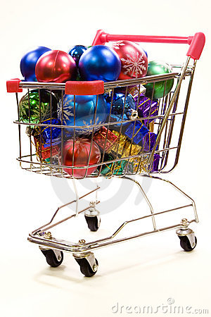 Shopping trolley full of christmas decorations 3