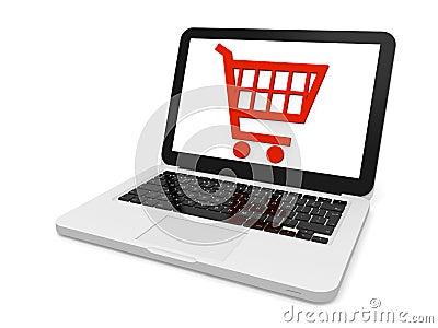 Shopping trolley on laptop screen