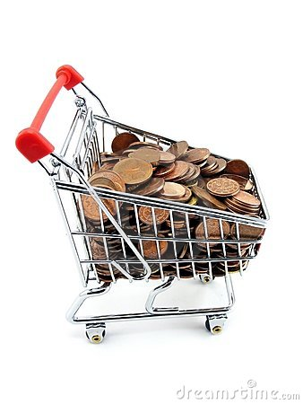Shopping trolley with money