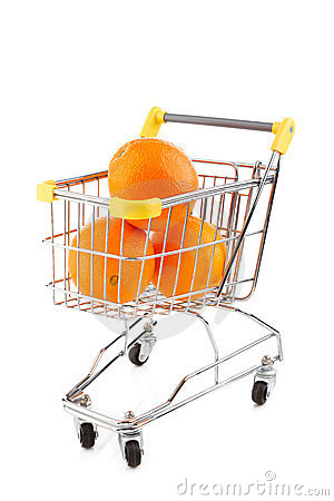 Shopping trolley and oranges